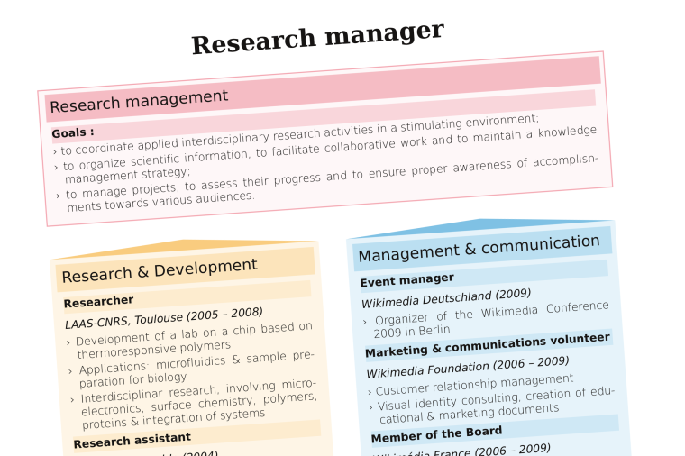 Cropped screenshot of a 2-column colorful resume