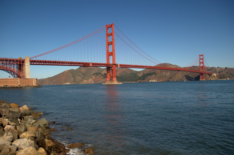 The Golden Gate Bridge, seen from below, southern side