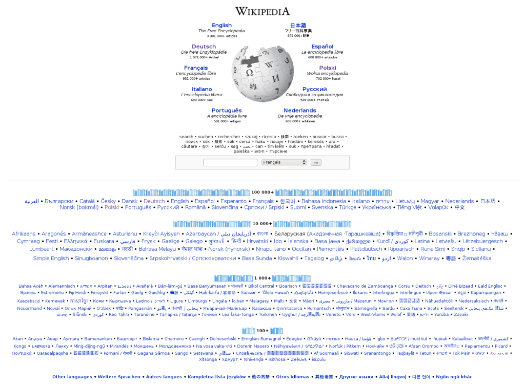 Screenshot of the wikipedia.org portal; The Wikipedia logo is surrounded by the 10 largest language editions, then languages are listed in size groups