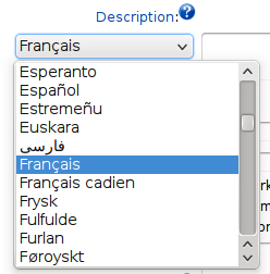 Drop-down menu showing a list of languages written in their language