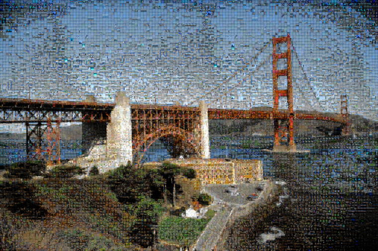 Photographic mosaic depicting the Golden Gate bridge seen from the Presidio in San Francisco