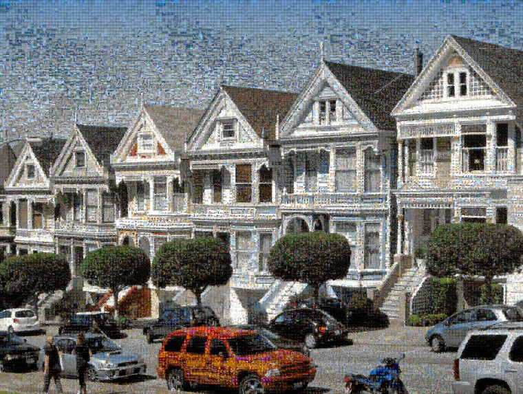"Photographic mosaic composed of 22,059 photos and depicting the ""Painted ladies"" near Alamo Square, in San Francisco."
