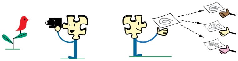 A character with a puzzle-piece head taking a photo of a bird, and sharing their work with other people