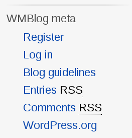 Screenshot of the custom meta widget with a link to posting guidelines in the middle of the standard meta widget's content