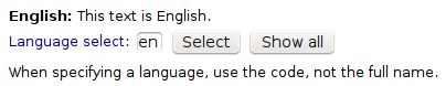 Cropped screenshot of a web page showing a small input field with the text 'en' in it, followed by two buttons, saying 'Select' and 'Show'
