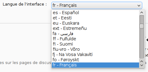 Drop-down menu showing a list of languages in their language, prefixed by the language code