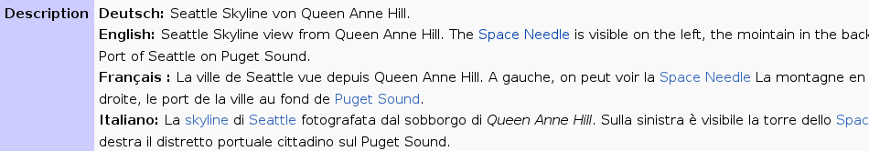 Descriptions in German, English, French and Italian; the language is formatted in bold font.