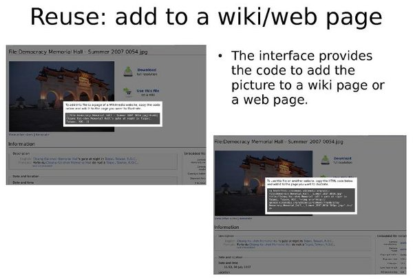 Mock-ups of file description pages on Commons with code snippets in the foreground
