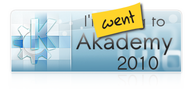 The KDE logo, followed by I went to Akademy 2010