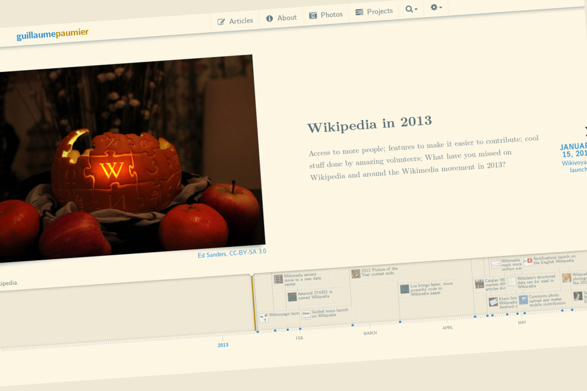 Wikipedia timeline 2013 screenshot