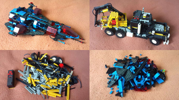A collage of four photographs. The first row shows an assembled blue LEGO spaceship, and an assembled black and yellow crane truck. The bottom row shows piles of LEGO pieces for the same sets after being disassembled.