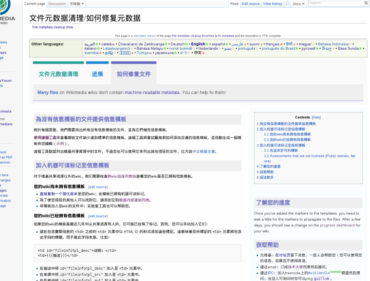 Screenshot of the Chinese-language version of the 'How to fix metadata' page on Meta-Wiki