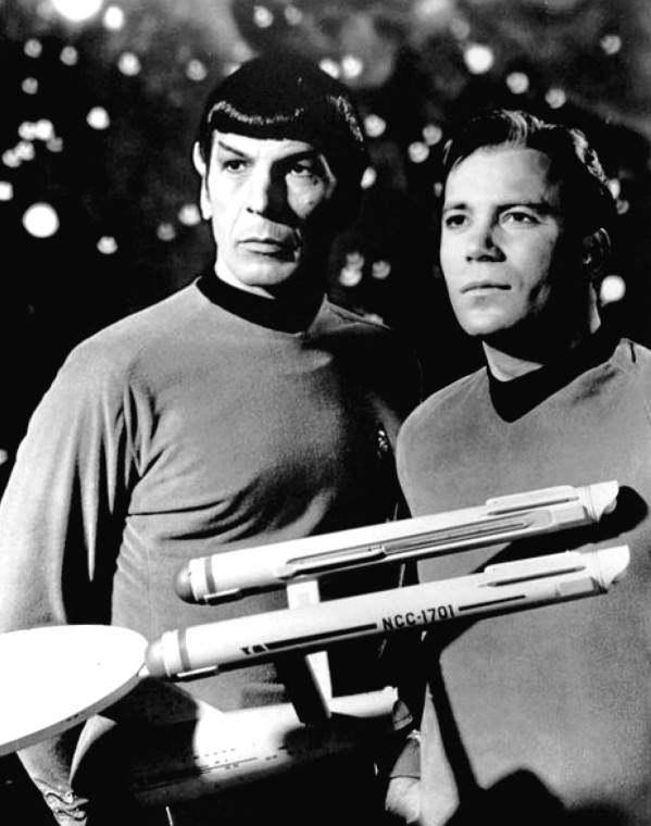 "Spock and Kirk. ""Leonard Nimoy William Shatner Star Trek 1968"", by NBC Television, in the public domain, from Wikimedia Commons."