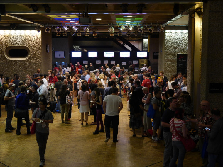 """Wikimania 2014 welcome reception 02"", by Chris McKenna, under CC-BY-SA 4.0 International, from Wikimedia Commons."